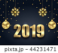 New Year Dark Background with Golden Balls, Snowflakes. Greeting Banner 44231471