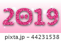 2019 Text with Cartoon pigs Nose, Pink Glitter Surface for Happy New Year 44231538