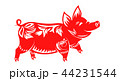 Chinese Zodiac Sign for New Year, Floral Ornamental Pig Isolated 44231544