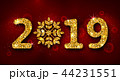 2019 Text, Golden Glitter Background for Happy New Year 44231551