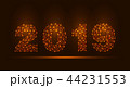 Abstract Mash Line and Point Scales on Dark Background with 2019 Happy New Year 44231553
