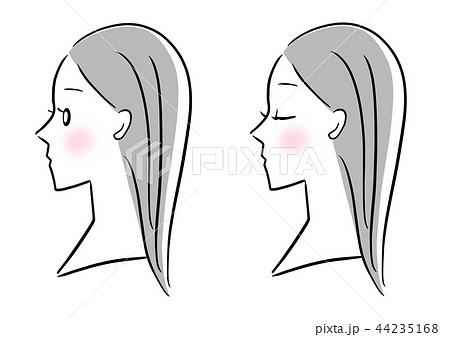 顔 横向き 女性のイラスト素材 44235168 Pixta