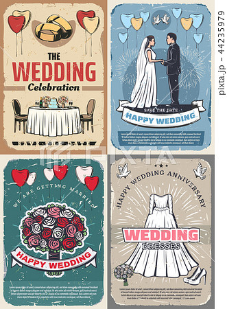 wedding and marriage celebration vintage postersのイラスト素材
