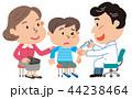 予防接種 親子 小学生 イラスト  44238464