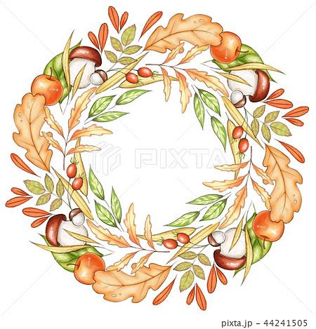 Autumn wreath. Falling leaf and fruit. 44241505