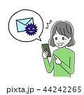 スマートフォン シニア ウイルスメールのイラスト 44242265