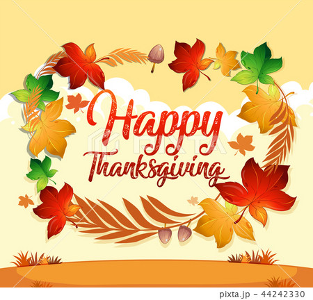 a happy thanksgiving card templateのイラスト素材 44242330 pixta