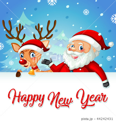 santa and deer on new year card templateのイラスト素材 44242431