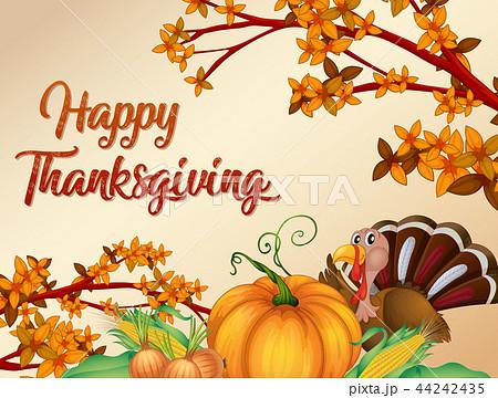 happy thanksgiving card templateのイラスト素材 44242435 pixta