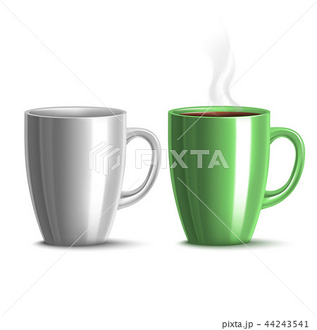 Blank Mug Mockup and Green Mug with Tea in Realistic Style 44243541