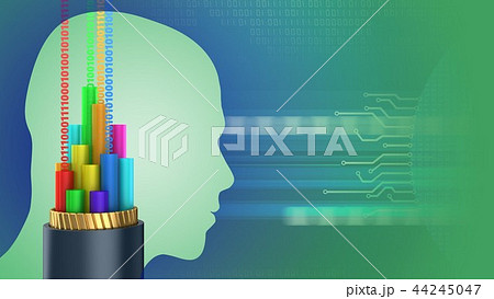 3d abstract of cable and head silhouette 44245047