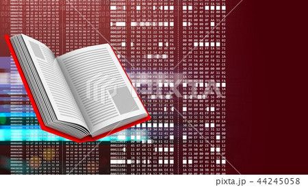 3d abstract of opened book and hexadecimal code 44245058
