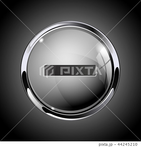 Minus button. 3d shiny gray icon for media 44245210