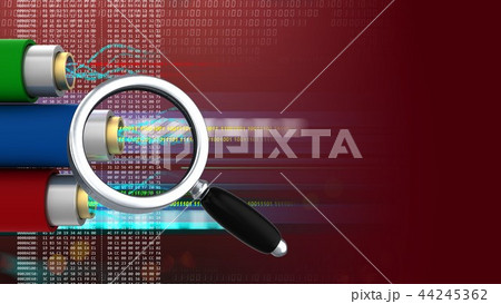 3d abstract of data cables and magnify glass 44245362