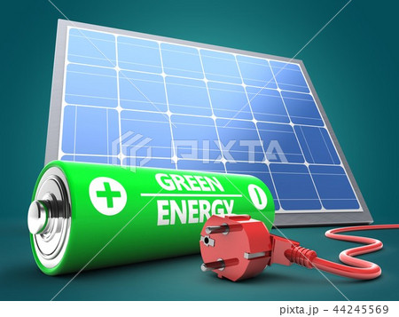 3d illustration of battery  with solar panel  44245569