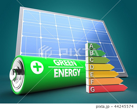 3d illustration of battery with  efficient ranks 44245574