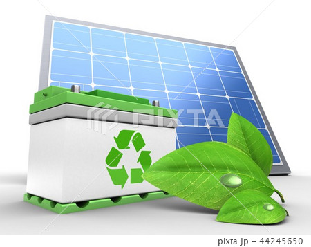 3d illustration of car battery with solar panel  44245650