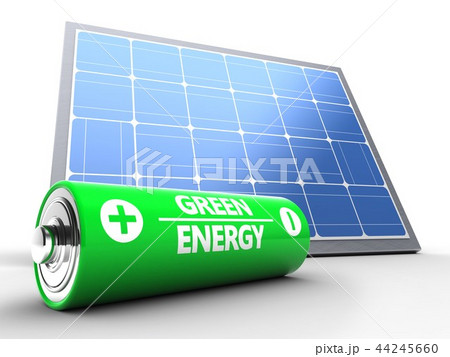 3d illustration of solar panel with battery 44245660