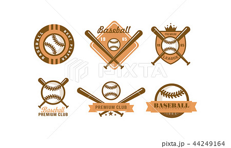 Baseball logo set, retro emblem for baseball club, premium league label, best player badge vector 44249164