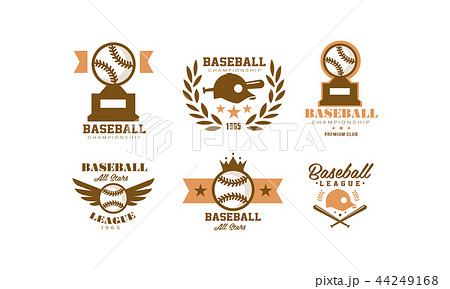 Baseball logo set, retro emblem for baseball championship, sports team identity badge vector 44249168