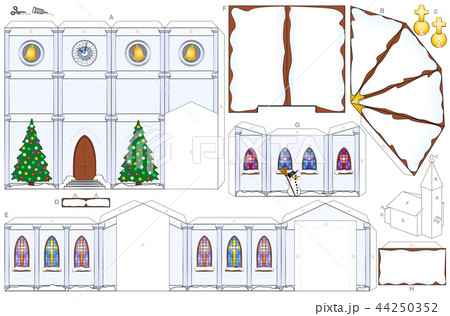 church christmas winter snow paper craft templateのイラスト素材