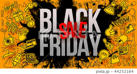 Black friday sale yellow paper art banner 44252164