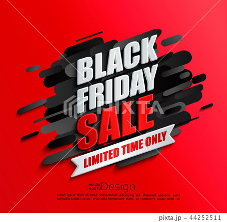 Dynamic black friday sale banner on red background 44252511