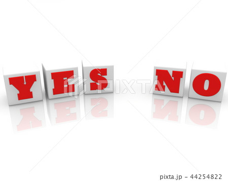 Yes or No concept on white cubes on white backgrou 44254822