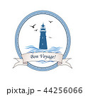 Lighthouse card Voyage card symbol with ocean wave 44256066