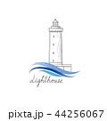 Lighthouse logo. Lighthouse symbol with ocean wave 44256067