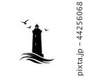 Lighthouse logo. Lighthouse symbol with ocean wave 44256068