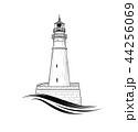 Lighthouse logo. Lighthouse symbol with ocean wave 44256069