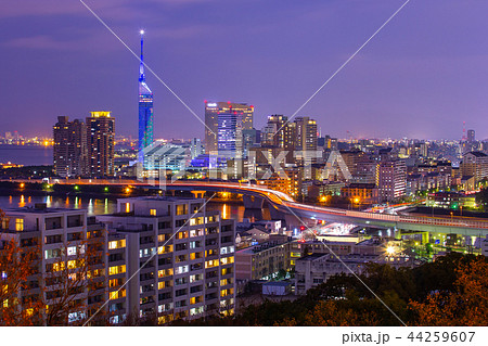 Night view of Fukuoka city in Japan 44259607