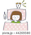 女性 目覚まし 体温計のイラスト 44269380