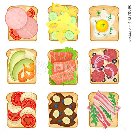 Flat vector set of sandwiches with different ingredients. Toasted bread slices with sausage, fried 44270090