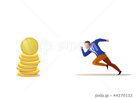 businessman running forward money coin stack growth wealth concept man hurry payment cash motivation 44270132