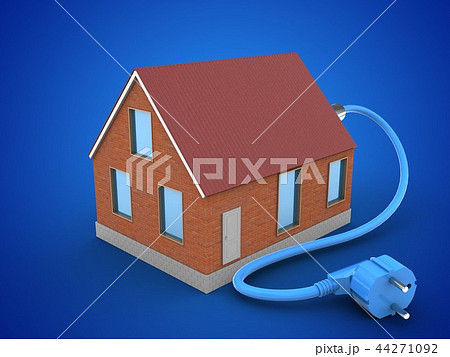 3d illustration of bricks house with power cable 44271092