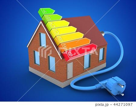 3d illustration of bricks house  with power ranks 44271097