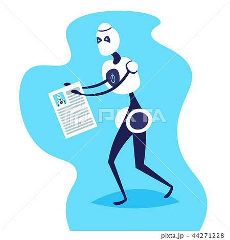 robot holding resume for job position artificial intelligence