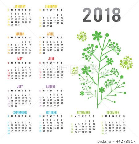 planner calendar new year 2018 flower vectorのイラスト素材 44273917