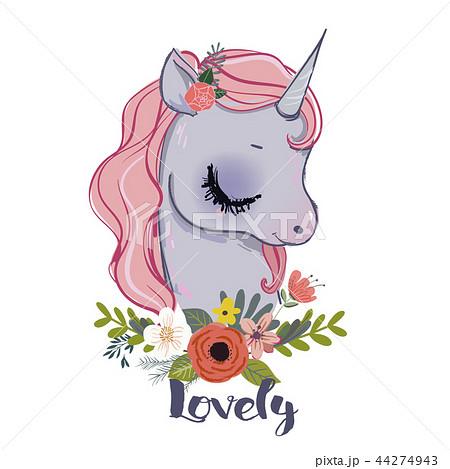 little cartoon fairytale unicornのイラスト素材 [44274943