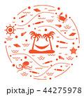 島 浮かぶ島 椰子の木のイラスト 44275978