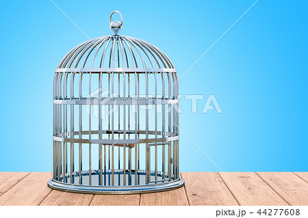 Bird cage on the wooden table. 3D rendering 44277608