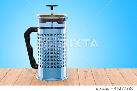 French Press on the wooden table. 3D rendering 44277830