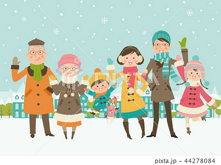 冬の家族 積雪のイラスト素材 44278084 Pixta