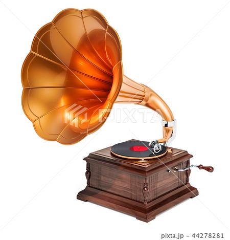 Retro phonograph, vintage gramophone. 3D rendering 44278281