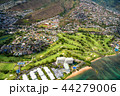 《ハワイ》ホノルル上空・ゴルフ場と住宅街《航空写真》 44279006