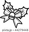 クリスマス ひいらぎ ベル リボン 鈴 白黒線画ぬり絵 44279448