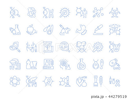 Set Vector Line Icons of Genome Engineering. 44279519