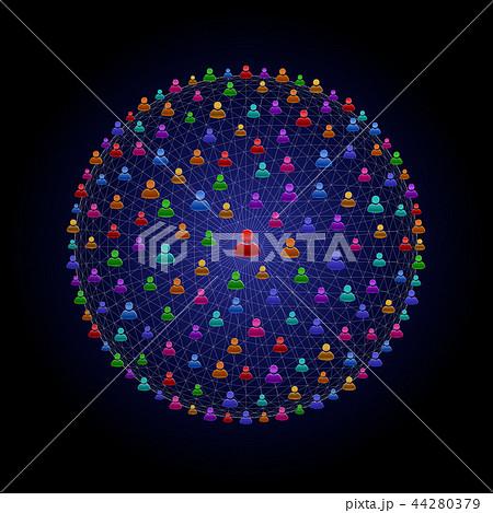 ネットワークで繋がっている人型アイコン 44280379